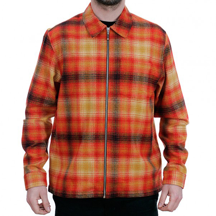 Stussy Spring 2018-zip-up-crepe-plaid-long-sleeved-shirt-red