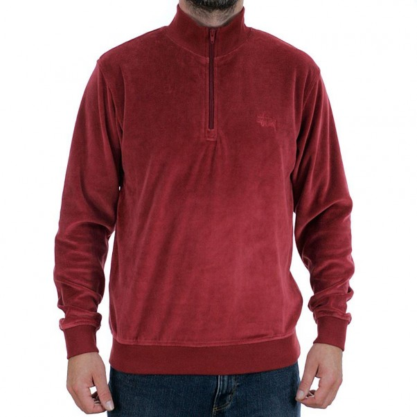Stussy Velour Long Sleeved Zip Mock Jacket Maroon