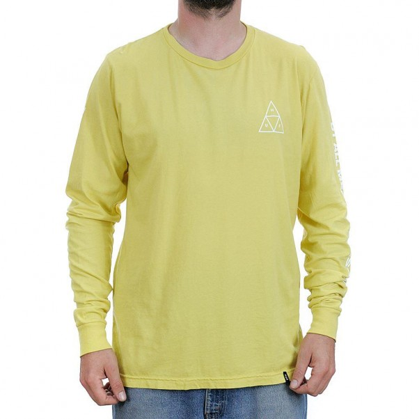 Huf Essentials Triple Triangle Long Sleeved T-Shirt Super Lemon