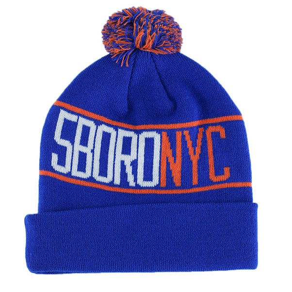 5 Boro Letterpress Bobble Beanie Navy Orange