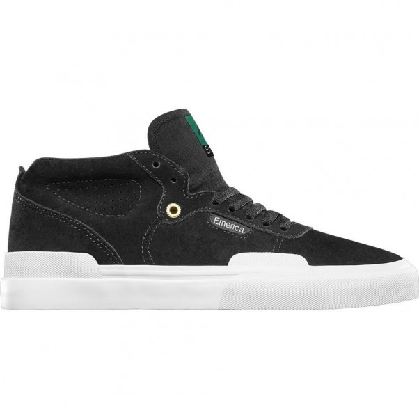 Emerica Footwear Pillar Black White Gold Skate Shoes
