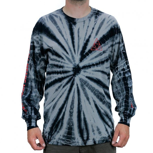 Huf Triple Triangle Tie Dye Long Sleeved T-Shirt Black