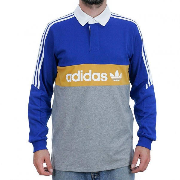 Adidas Skateboarding Heritage Rugby Shirt Collegiate Royal Core Heather Tactile Yellow