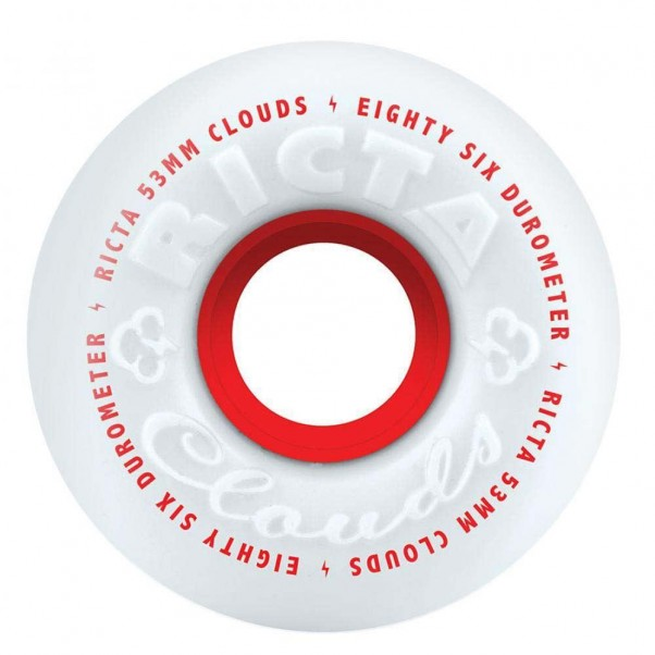 Ricta Clouds Skateboard Wheels 86A White Red 53mm