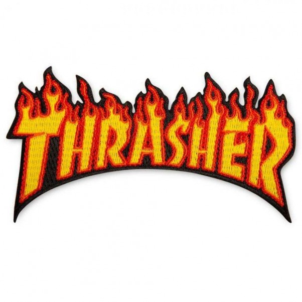 Thrasher Magazine Flame Sew On Patch Orange Yellow