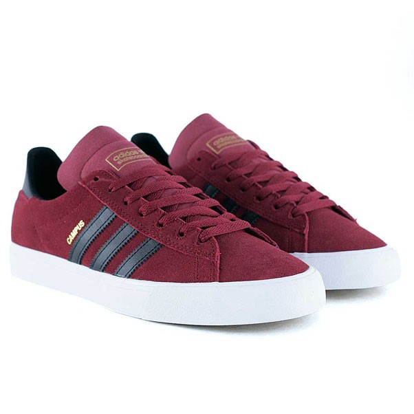 Adidas Skateboarding Campus Vulc II Collegiate Burgundy Core Black Feather White Skate Shoes