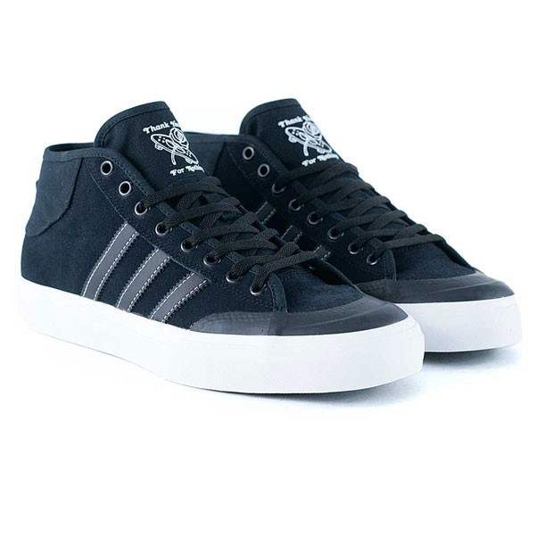 Adidas Skateboarding Matchcourt Mid Core Black Feather White Skate Shoes