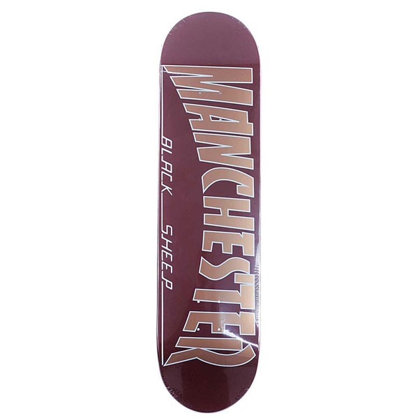 Black Sheep Manchester Burgundy Gold Skateboard Deck 8.5""