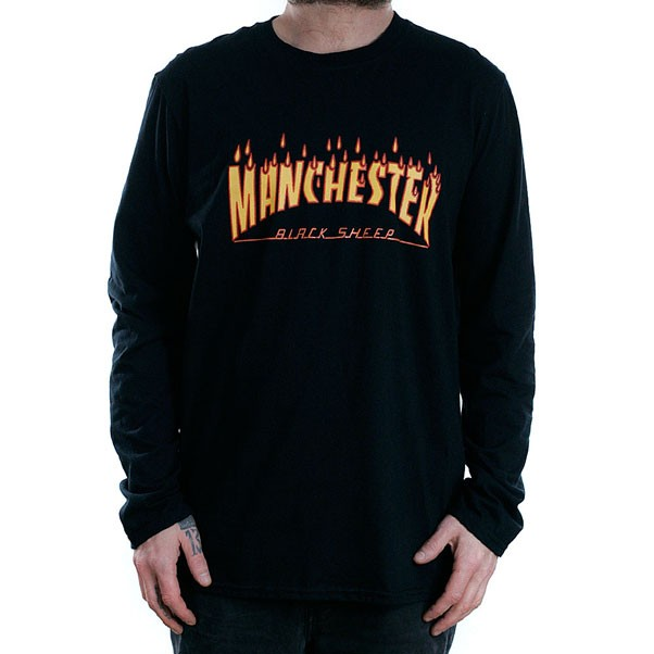 Black Sheep Manchester Rain Of Fire Long Sleeved T-Shirt Black