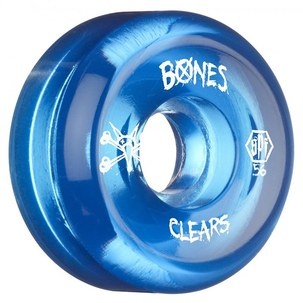 Bones SPF Clears Blue Skateboard Wheels 56mm