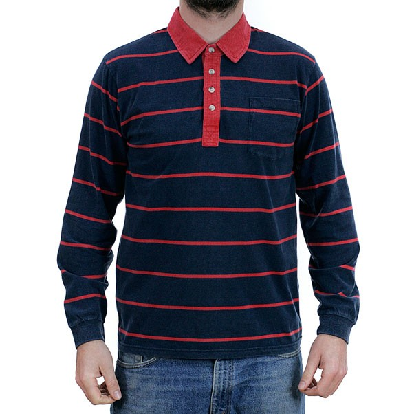Brixton Belgrade Long Sleeved Polo Knit Shirt Navy Red