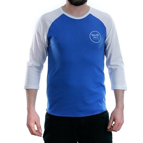 Brixton Wheeler 3/4 Sleeved T-Shirt Royal Blue White