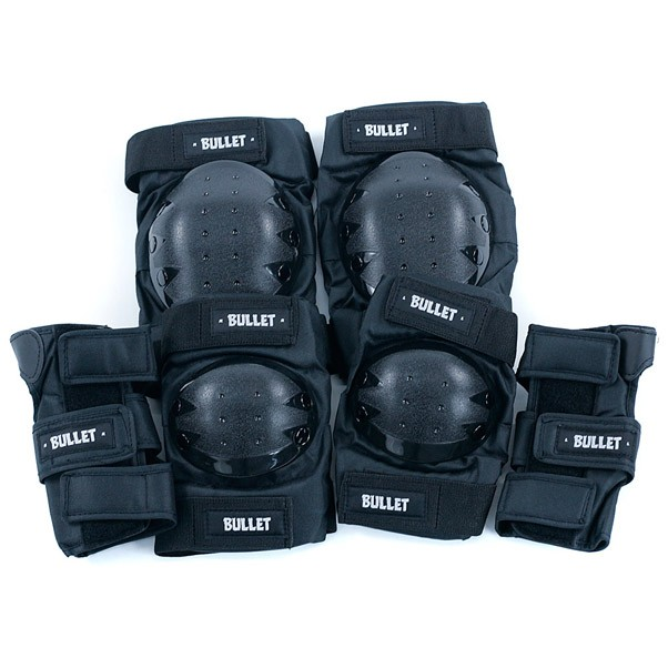 Bullet Pad Set Standard Combo Knee Elbow Wrist Guard Black Adult One Size Fits All