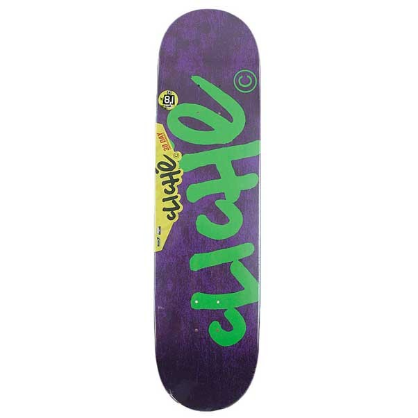 "Cliche Handwritten Classic Purple/Fluo Green 8.1"" Skateboard Deck"