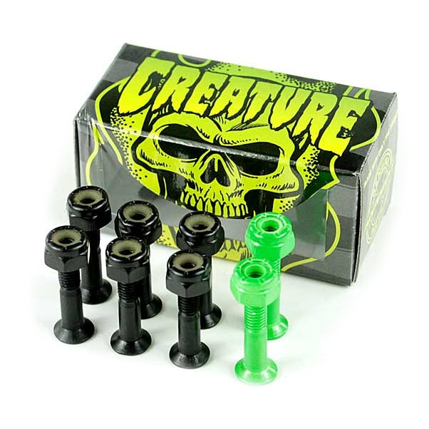 Creature CSFU Black/Green Skateboard Bolts 1""