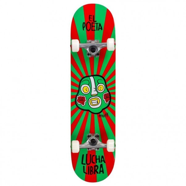 """Enuff Lucha Libre Factory Complete Skateboard Red Green 7.75"""""""