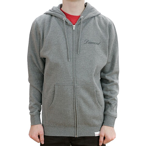 Diamond Supply Co Caddy Diamond Zip Hooded Sweatshirt Heather Grey