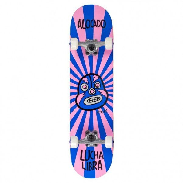 """Enuff Lucha Libre Factory Complete Skateboard Pink Blue 7.75"""""""