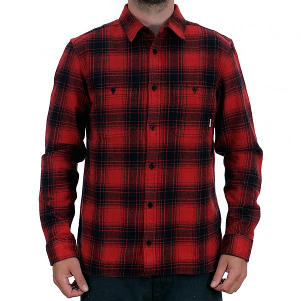 Element Miller Long Sleeved Flannel Shirt Pompeian Red