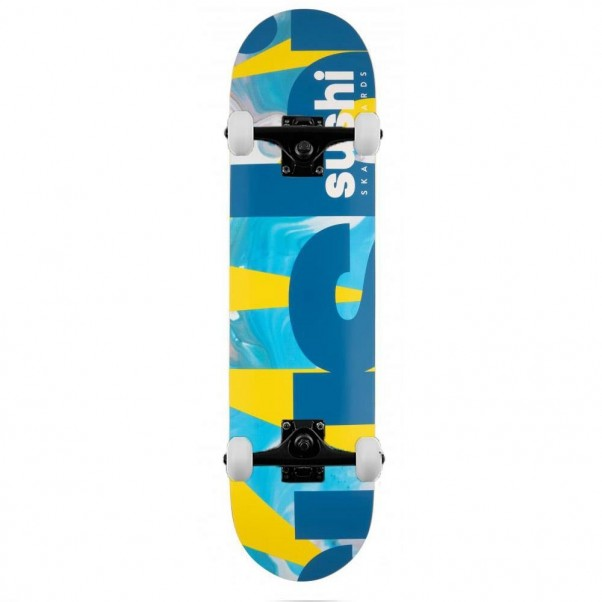 Sushi Deck Spectrum Logo Complete Skateboard  Yellow Teal 8.0""