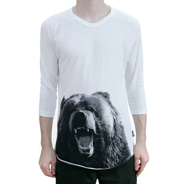Grizzly Engraved Bear Raglan T-Shirt White