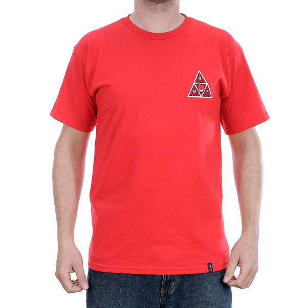 Huf x Spitfire Triple Triangle Short Sleeved T-Shirt Red