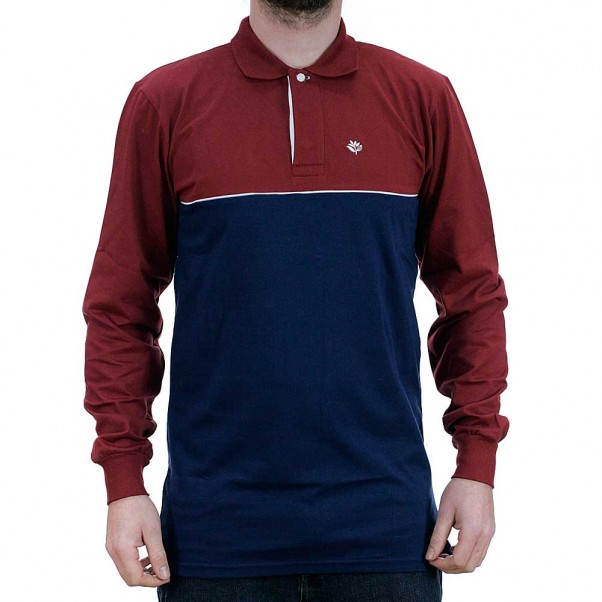 Magenta Skateboards Tricolor Long Sleeved Polo Shirt Red Navy White