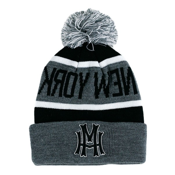 Mighty Healthy Kroy Wen Pom Beanie Hat Grey