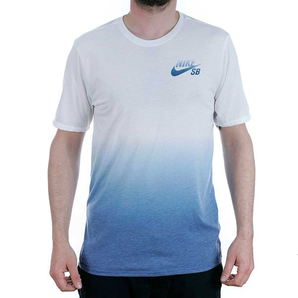 Nike Sb Dri Blend Dip Dye T-Shirt White Industrial Blue