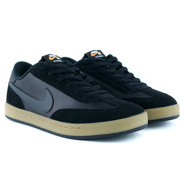 Nike Sb FC Classic Black Antharcite Vivid Orange Gum Skate Shoes
