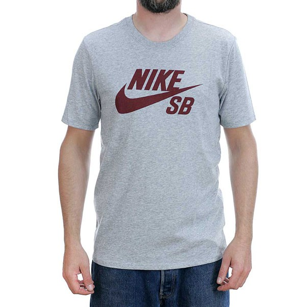Nike Sb Logo T-Shirt Heather Grey Team Red