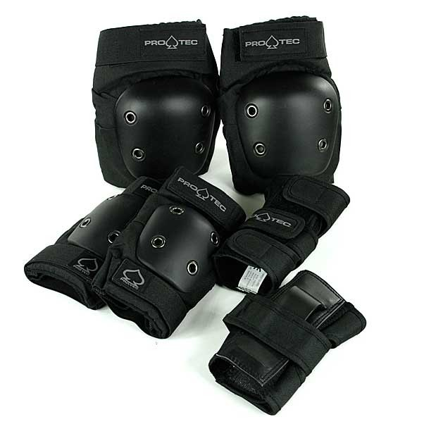 Protec Street Gear 3 Pack Knee Pads / Elbow / Wristguards Black Youth