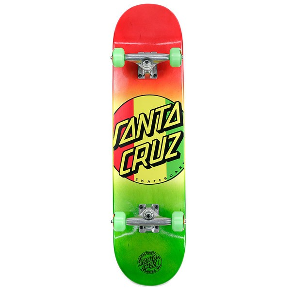 Santa Cruz Rasta Dot Regular Rasta Factory Complete Skateboard 7.7""