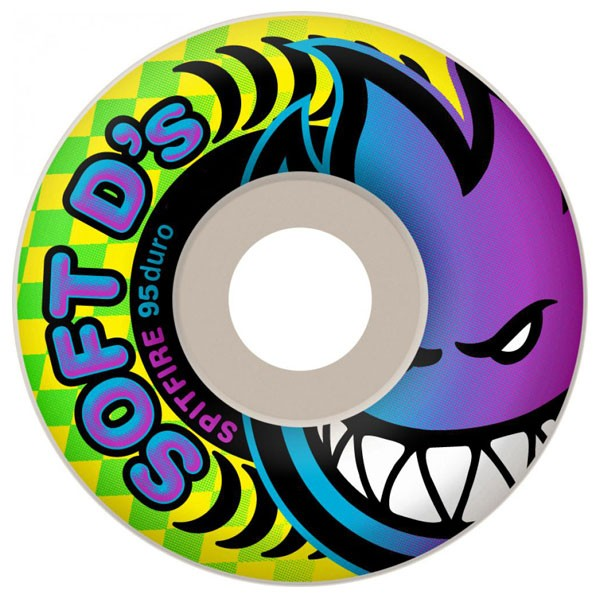 Spitfire Soft D's 95du Skateboard Wheels White 54mm