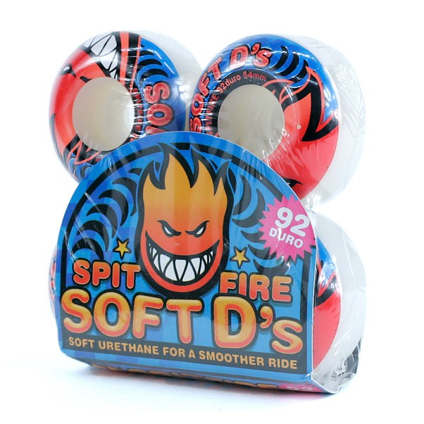 Spitfire Soft D's 92du Skateboard Wheels White 54mm