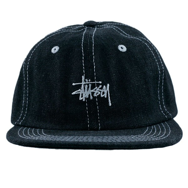 Stussy Contrast Stitch Denim Strapback Hat Black
