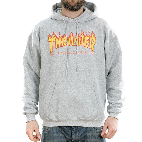 Thrasher Magazine Grey Flame Logo Hooded Sweatshirt