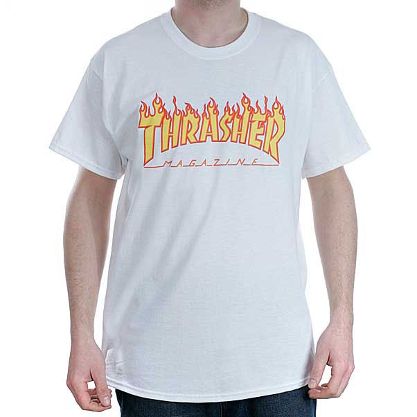 Thrasher Magazine White Flame Logo T-Shirt