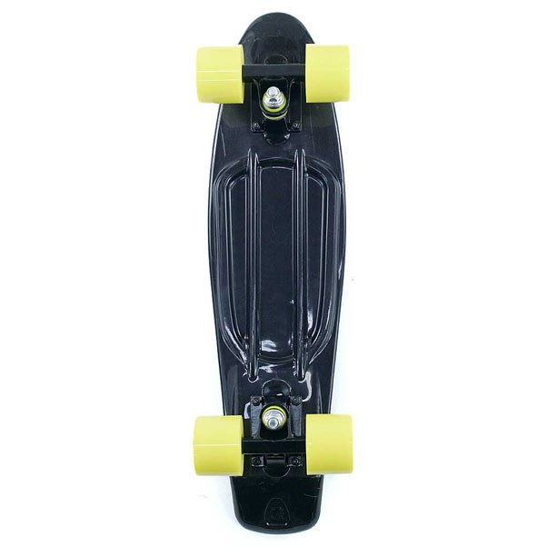 Two Bare Feet Cruiser Skateboard Complete Black Yellow 22""
