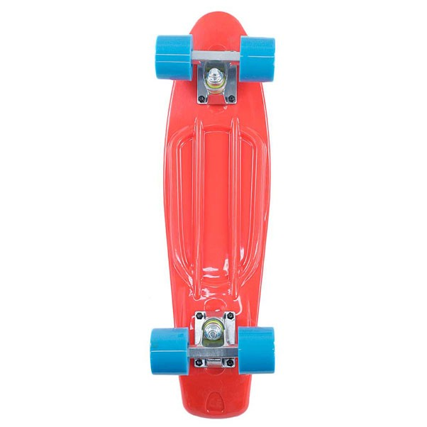 Two Bare Feet Cruiser Skateboard Complete Red Blue 22""