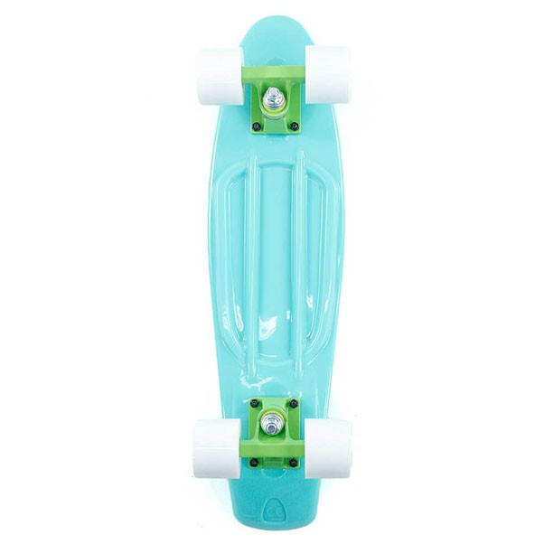 Two Bare Feet Cruiser Skateboard Complete Turquoise White 22""