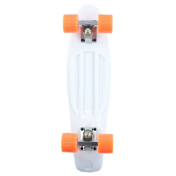 Two Bare Feet Cruiser Skateboard Complete White Orange 22""