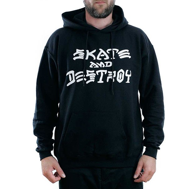 Thrasher Magazine Black Skate & Destroy Hooded Sweatshirt