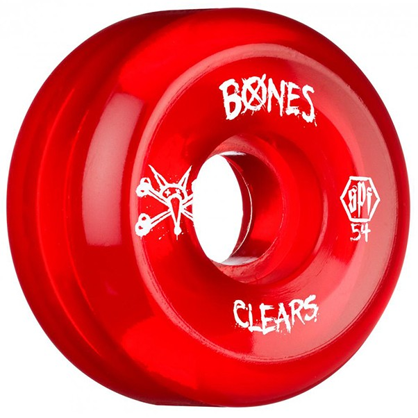 Bones SPF Clears Red Skateboard Wheels 54mm