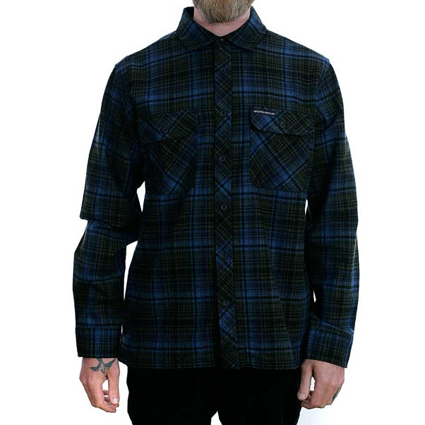 Brixton x Hardluck Rider Long Sleeve Flannel Shirt Blue Green