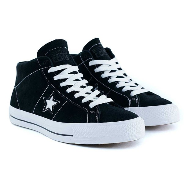 Converse One Star Pro Mid Black White Black Skate Shoes