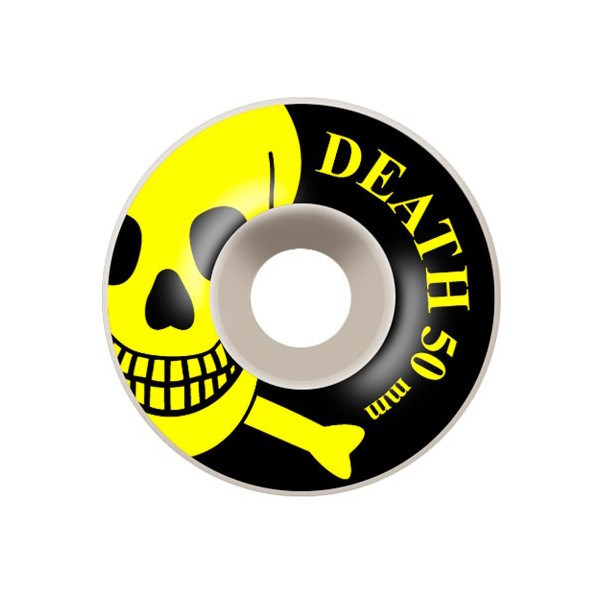 Death Skateboards Skull Skateboard Wheels White Yellow 50mm