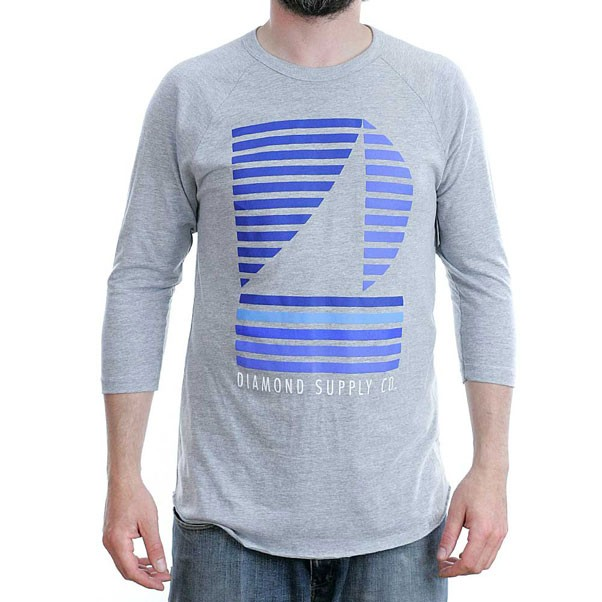 Diamond Supply Co Stripe Boat Raglan T-Shirt Heather Grey