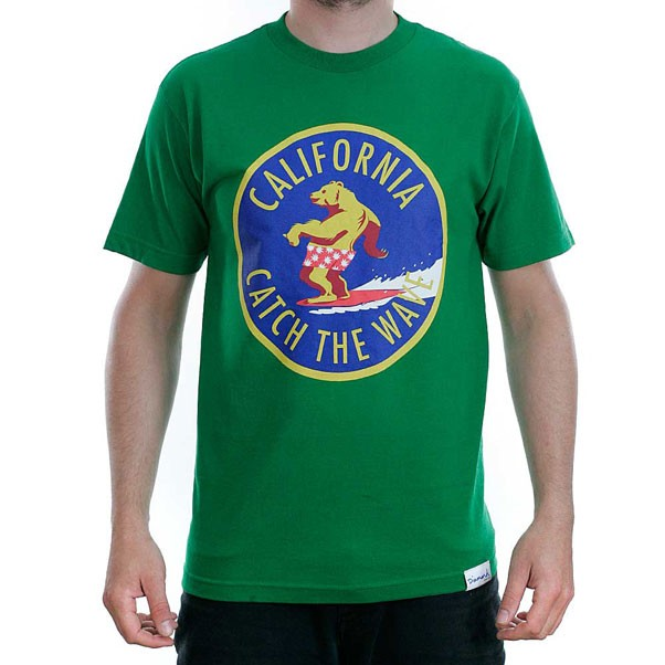 Grizzly Griptape T Shirt Catch The Wave Green