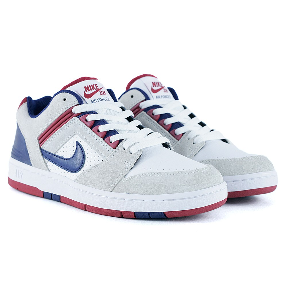 Nike Sb Air Force II Low White Blue Void Red Crush at Black Sheep Skateboard Shop